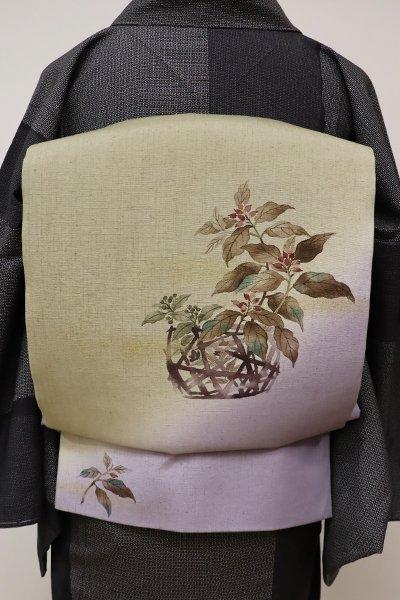 あおき【L-4087】紬地 洒落袋帯 薄色×抹茶色 籠に野の草の図