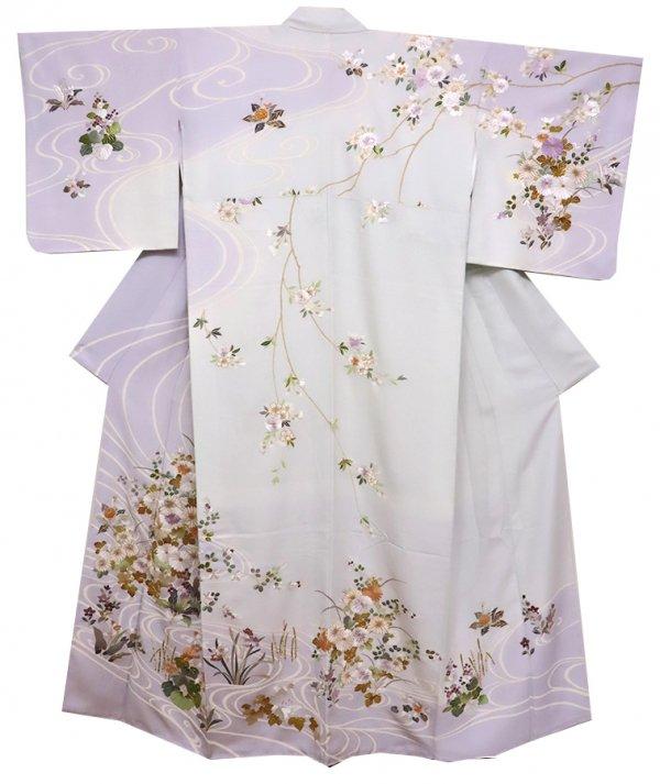 【着物2306】刺繍訪問着 牡丹鼠色 流水に四季花文 (しつけ付)