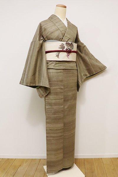 銀座【A-2609】真綿紬 油色系 ナチュラルな横段