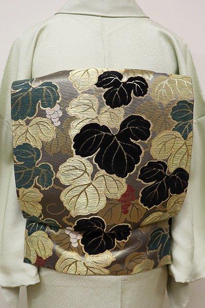 あおき【L-4088】モール織り 袋帯 鼠色 山葡萄の図 (落款入り)