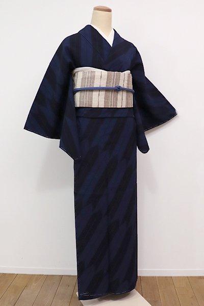 銀座【A-2612】(S)本塩沢 濃藍色 斜め矢絣(証紙付)