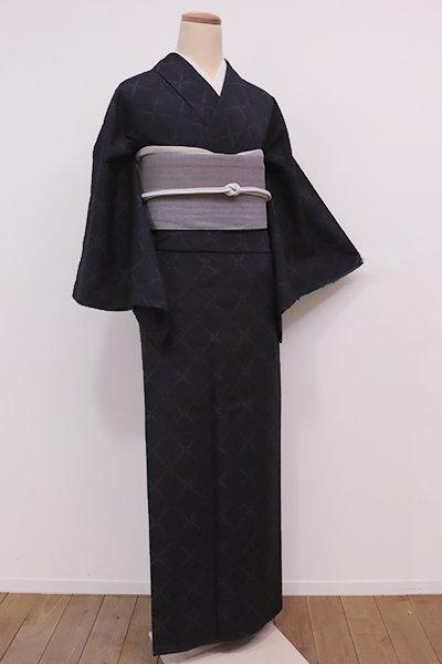 銀座【A-2613】↑Sサイズ↓紬 藍墨茶色 斜め格子