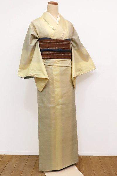 銀座【A-2615】紬 淡黄色×裏葉柳色 竪暈かし