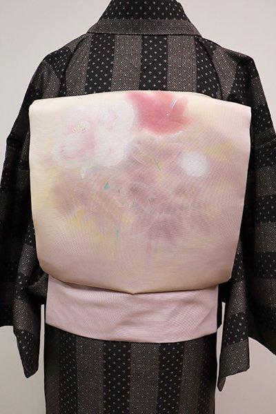 銀座【K-5630】塩瀬 染名古屋帯 薄卵色×灰桜色 牡丹の図