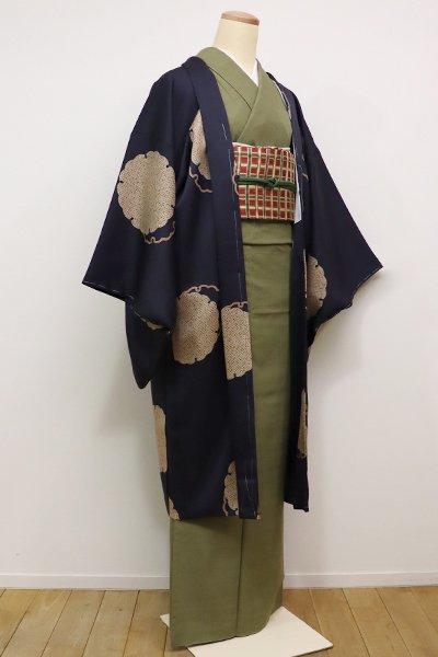 銀座【E-915】羽織 青褐色 雪輪文(新品・しつけ付)