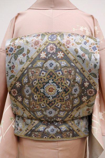 銀座【L-4096】紗刺し 袋帯 淡い湊鼠色 華文や唐花の図