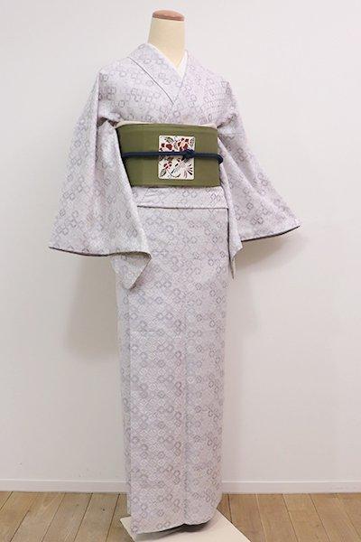 銀座【A-2624】紬御召 白練色 七宝繋ぎ