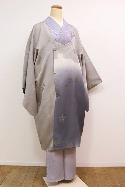 銀座【E-921】絵羽 道行コート 絹鼠色×深い灰青色 大雪輪文