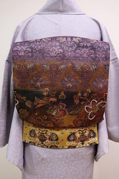 あおき【L-4108】和紙 洒落袋帯 多彩な横段に更紗花文