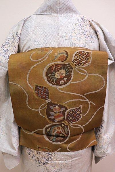 WEB限定【L-4111】洒落袋帯 黄土色暈かし 瓢箪の図