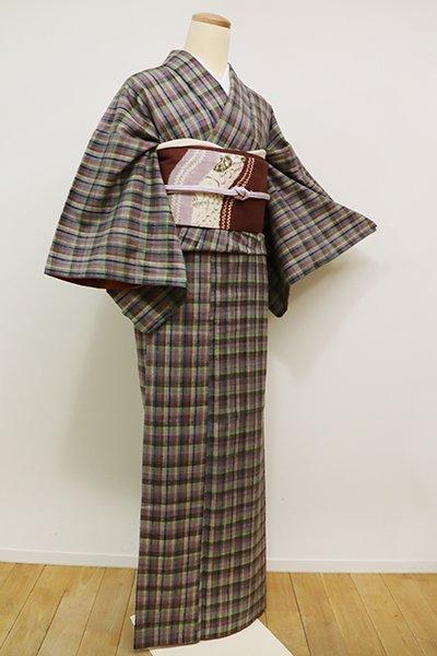 銀座【A-2626】紬 灰色 多彩な格子