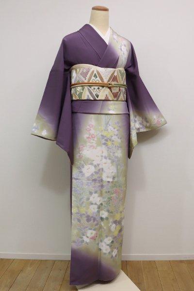 銀座【B-2007】訪問着 濡れ描き 滅紫色×枯草色 春秋の花の図