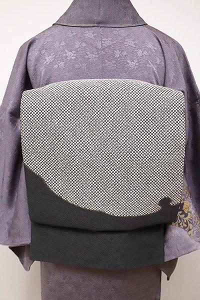 あおき【L-4122】洒落袋帯 黒緑色 大雪輪文