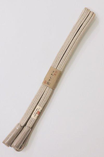 銀座【G-1062】京都 衿秀製 帯締め 冠組 淡い白橡色(新品)
