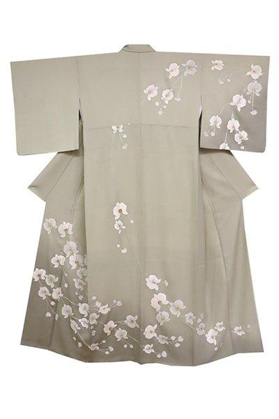 【着物2328】総刺繍訪問着 利休白茶色 胡蝶蘭の図