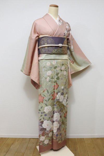 あおき【B-2011】(細め)訪問着 水柿色×砥粉色 四季花の図