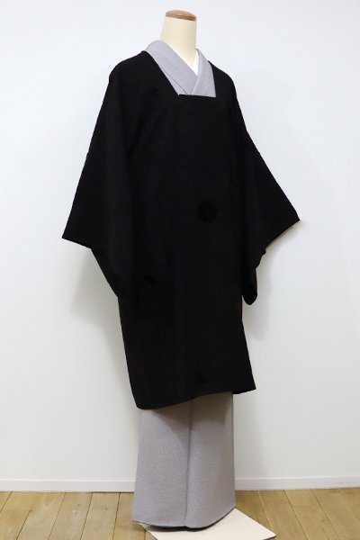 銀座【E-927】輪奈ビロード 道行コート 赤墨色 唐花文