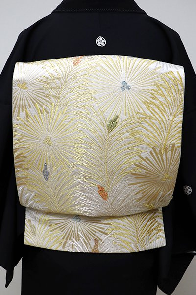 銀座【L-4133】袋帯 白色 若松文