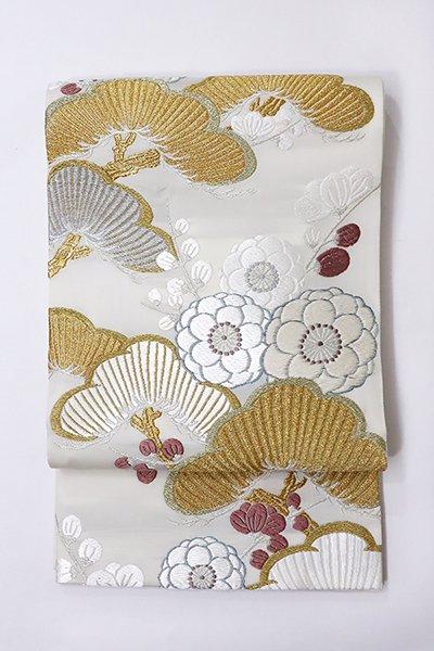 【帯2843】唐織 袋帯 白色 松竹梅 (未使用)