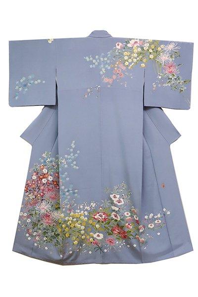 【着物2318】稲手明仁作 本加賀友禅 訪問着 折々の花図  灰みの強い淡藤色