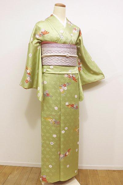 世田谷【D-2064】→ホッソリ←小紋 抹茶色 花筏の図