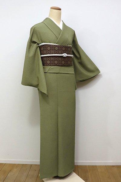 WEB限定【C-1492】(S)きもの英製 繍一ッ紋 江戸小紋 鶯色 行儀