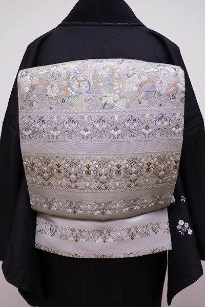 銀座【L-4139】総刺繍 袋帯 銀色 花鳥文の横段