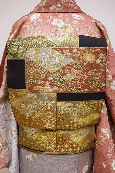 あおき【L-4141】西陣 川島織物製 本袋帯 檳榔子染色 色紙文