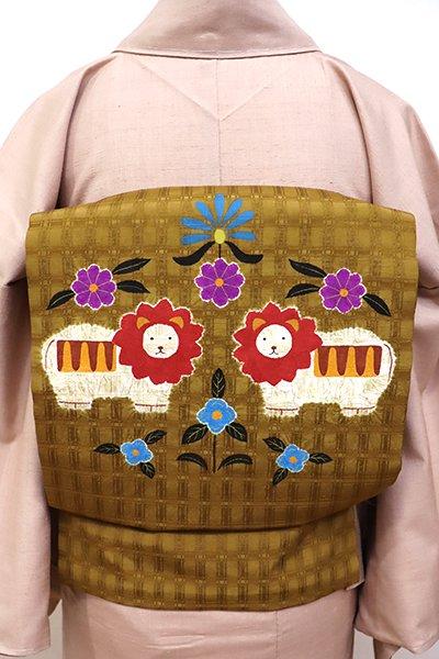 あおき【K-5667】紬地 絞り染め 名古屋帯 桑茶色 ライオンの図