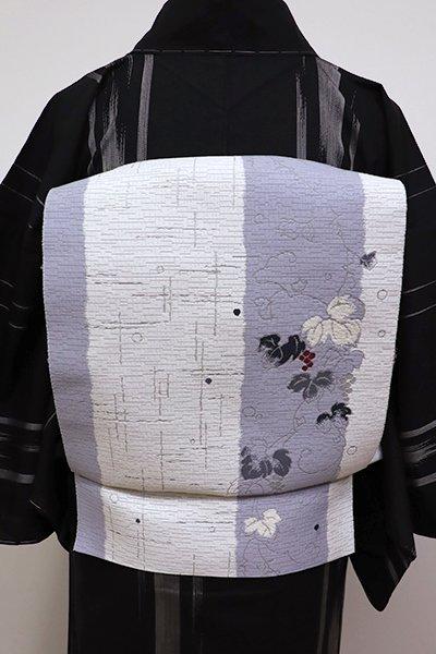 WEB限定【K-5668】モール織り 八寸名古屋帯 白色×藤鼠色 竪縞に山葡萄の図