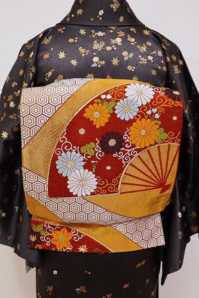 あおき【L-4146】西陣 河合美術織物製 袋帯 紅緋色×金色 扇面の図(落款入り)