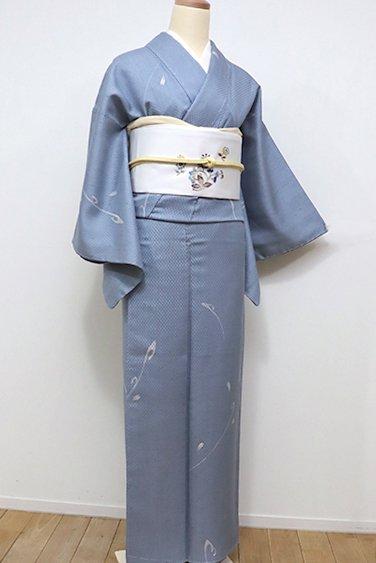 銀座【D-2068】紬地 小紋 薄花色 桜の花弁(しつけ付)
