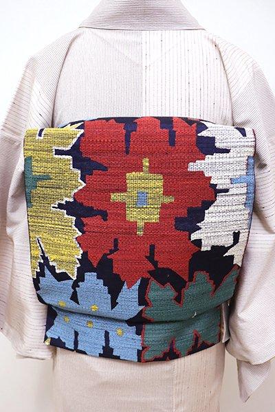銀座【L-4150】紬地 洒落袋帯 鉄紺色 多彩な抽象文