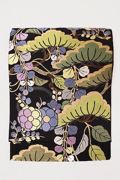 銀座【帯2859】西陣 帯屋捨松製 袋帯「松藤梅模様」 (西陣証紙付)