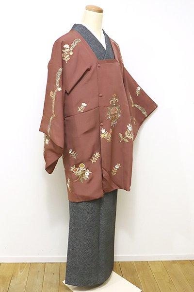 あおき【E-929】絵羽 道行コート 土器色 花の図