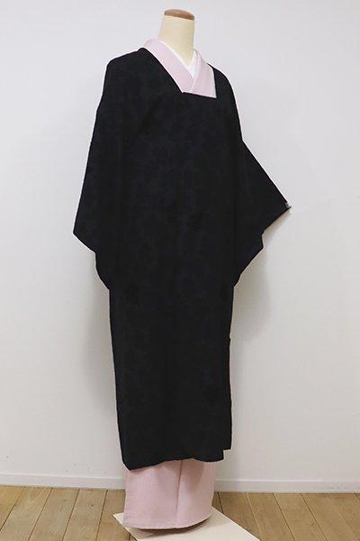世田谷【E-931】輪奈ビロード 道行コート 黒色 菊の葉の図(ショール付き)