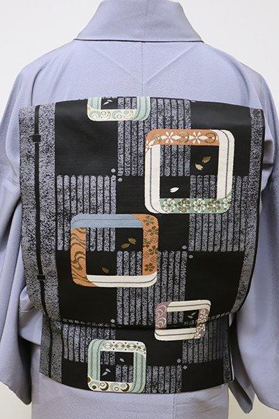 世田谷【K-5675】織名古屋帯 黒色 市松に抽象文