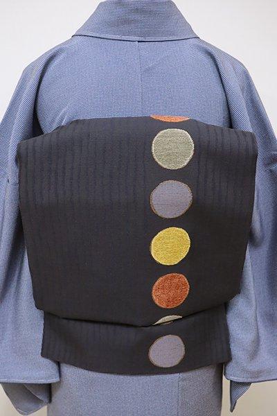 あおき【L-4155】モール織 洒落袋帯 深い藍鉄色 丸文