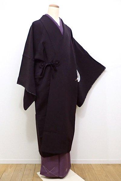 銀座【E-933】縮緬地 道中着 深い似せ紫色 蛇の目傘の図