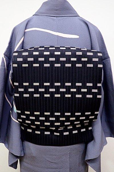 あおき【L-4156】袋帯 黒色 幾何文の横段