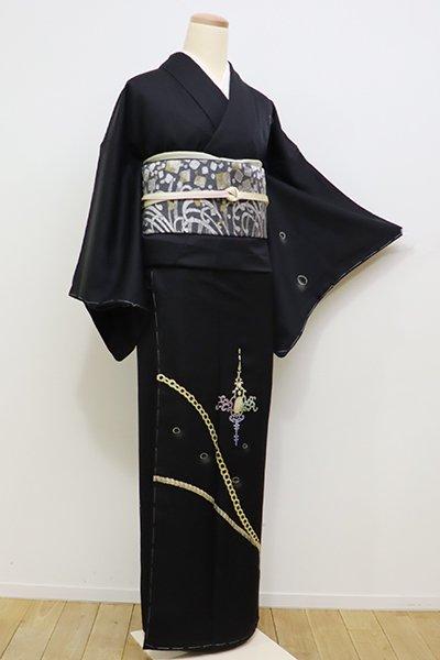 銀座【B-2021】付下げ 黒色 金鎖や装飾文