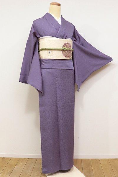 あおき【C-1503】色無地 紫苑色 桜の地紋に蛍の図
