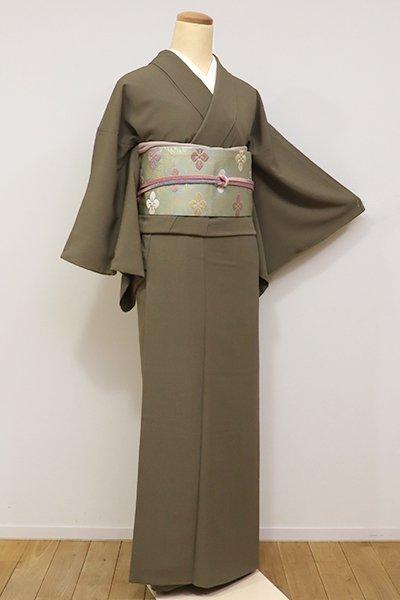 あおき【D-2073】(S) きもの英製 繍一ッ紋 小紋 国防色  縞