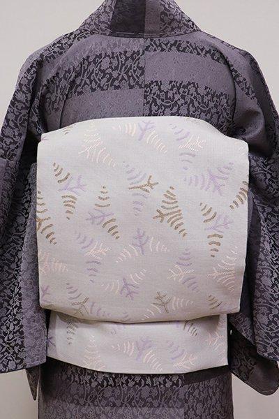 あおき【K-5686】織名古屋帯 白花色 菖蒲の図