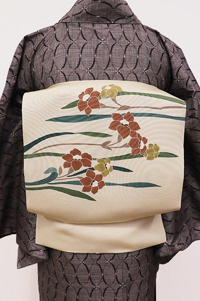 あおき【K-5687】塩瀬 染名古屋帯 鳥の子色 水仙の図