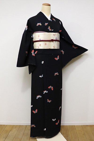 銀座【D-2077】←ユッタリ→小紋 黒色 蝶々の図