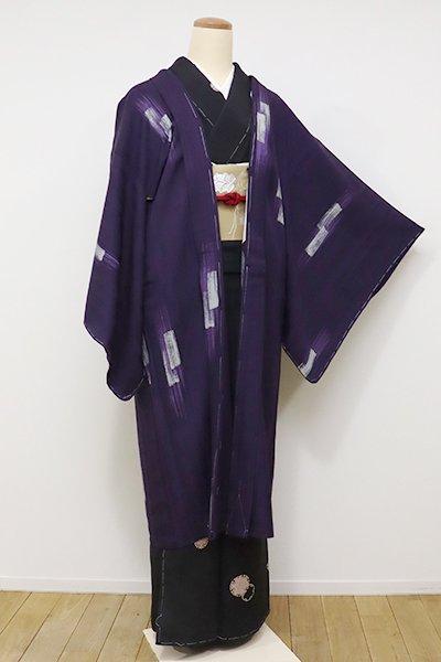 銀座【E-934】羽織 深紫色 刷毛目文(しつけ付)