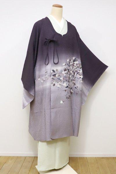 銀座【E-936】←ユッタリ→絵羽 和装コート 濃色×薄梅鼠色 暈かしに花枝の図