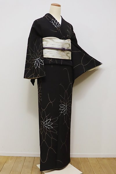 銀座【D-2079】小紋 黒色 網目花文