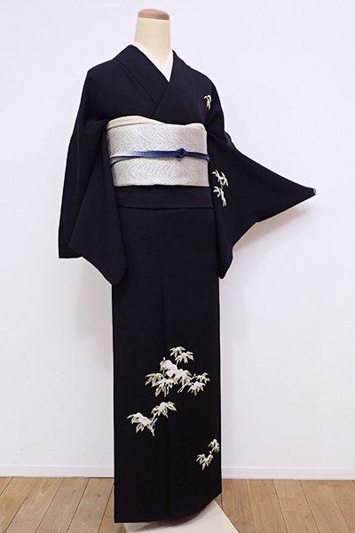 銀座【B-2030】付下げ 黒色 雪持ち笹